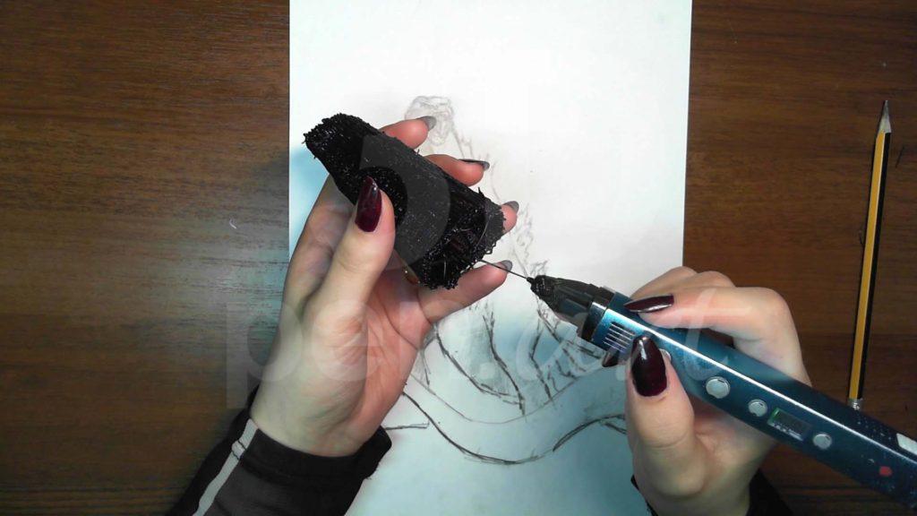 Годзилла 3D ручкой. Делаем верх тела