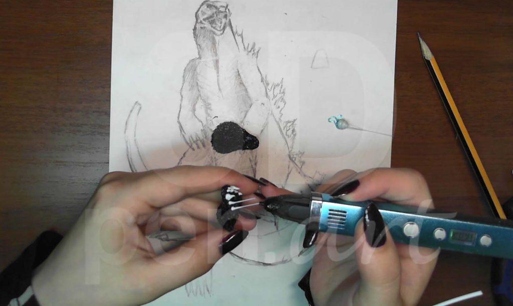 Годзилла 3D ручкой. Делаем зубы