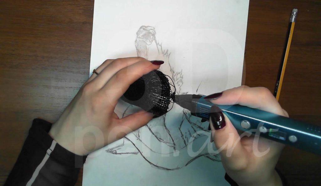 Годзилла 3D ручкой. Делаем каркас верха плечей