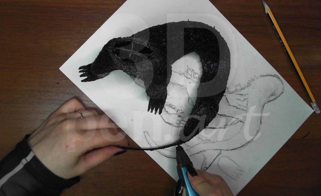 Годзилла 3D ручкой. Делаем кончик хвоста