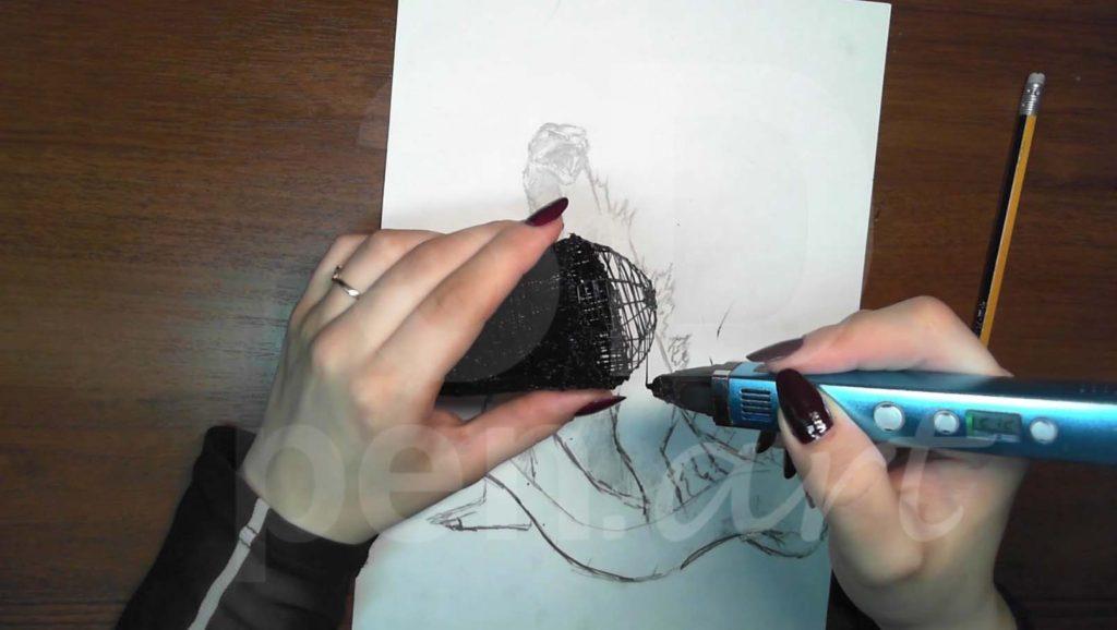 Годзилла 3D ручкой. Делаем плечи