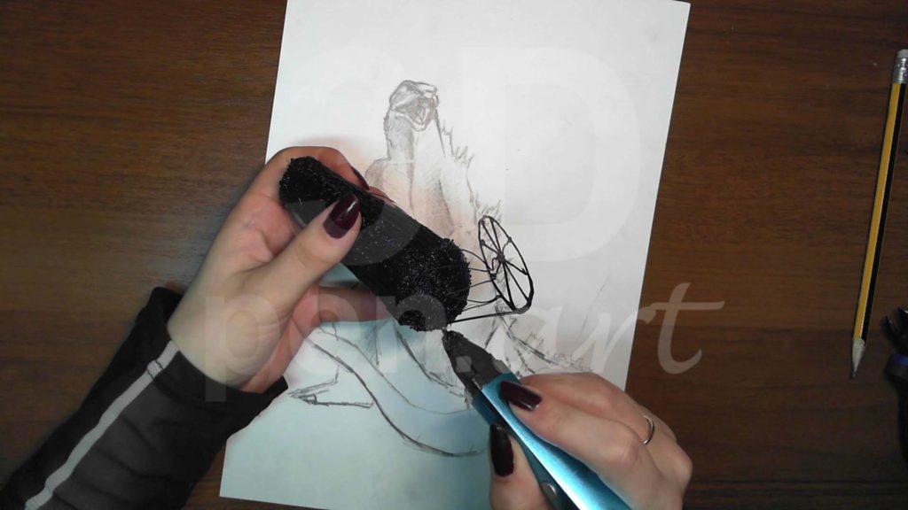 Годзилла 3D ручкой. Делаем хвост