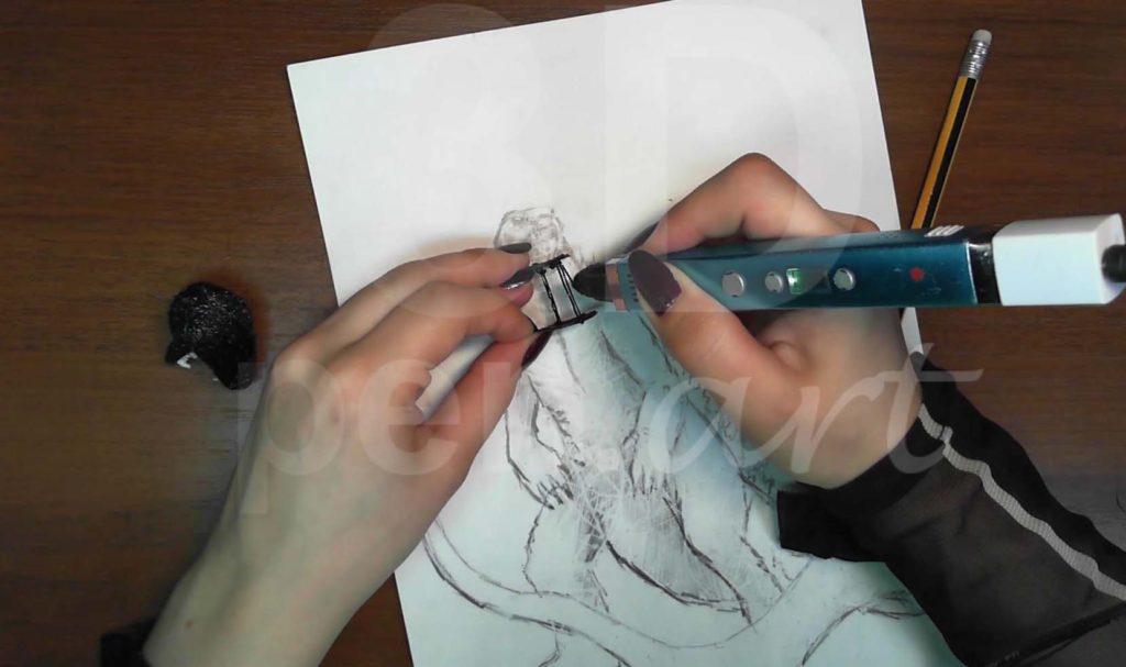 Годзилла 3D ручкой. Делаем шею