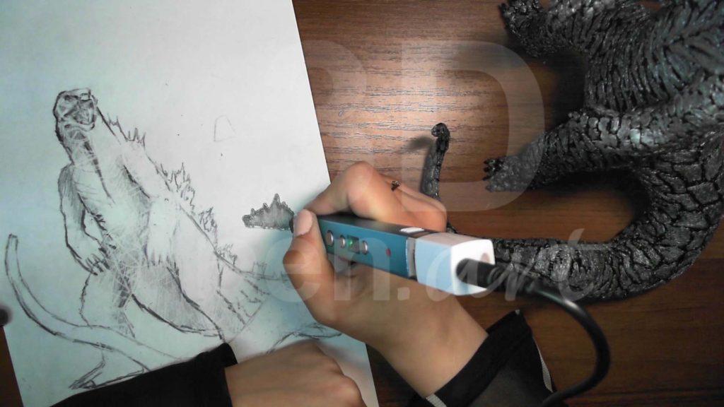 Годзилла 3D ручкой. Детализация спины