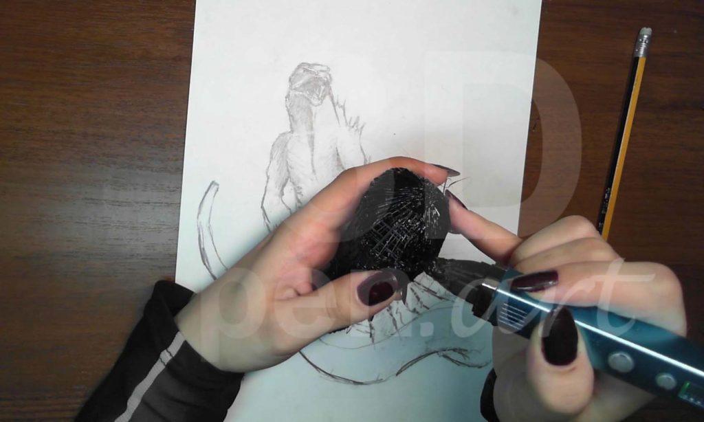 Годзилла 3D ручкой. Закрепляем каркас
