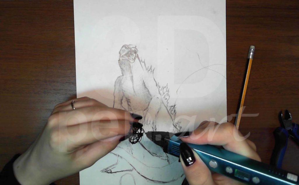 Годзилла 3D ручкой. Каркас головы