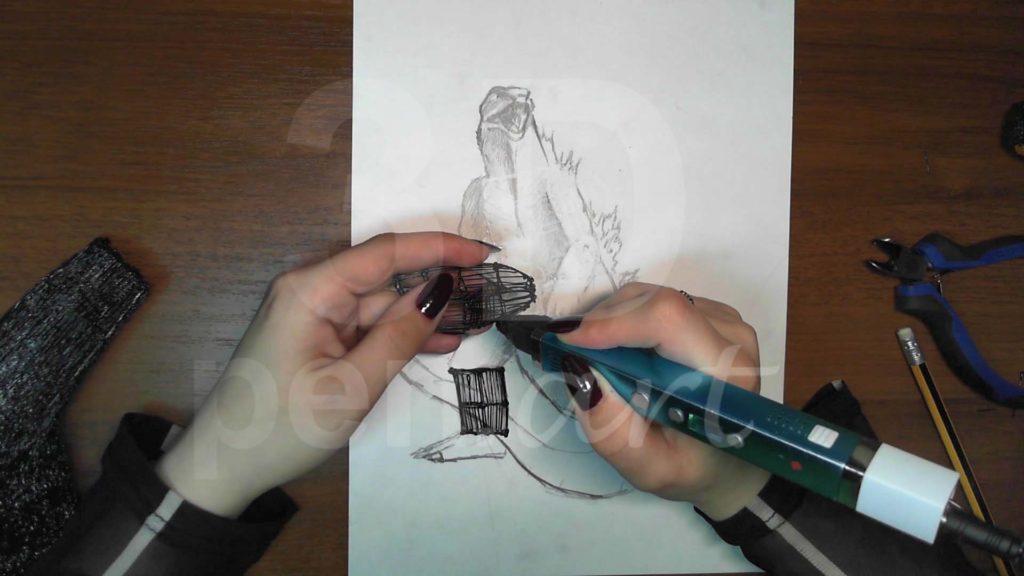 Годзилла 3D ручкой. Каркас ног