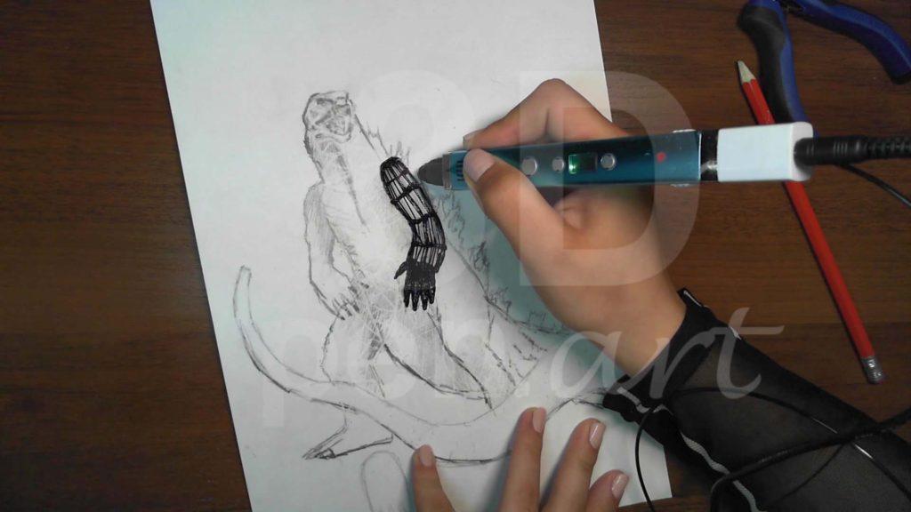 Годзилла 3D ручкой. Каркас рук