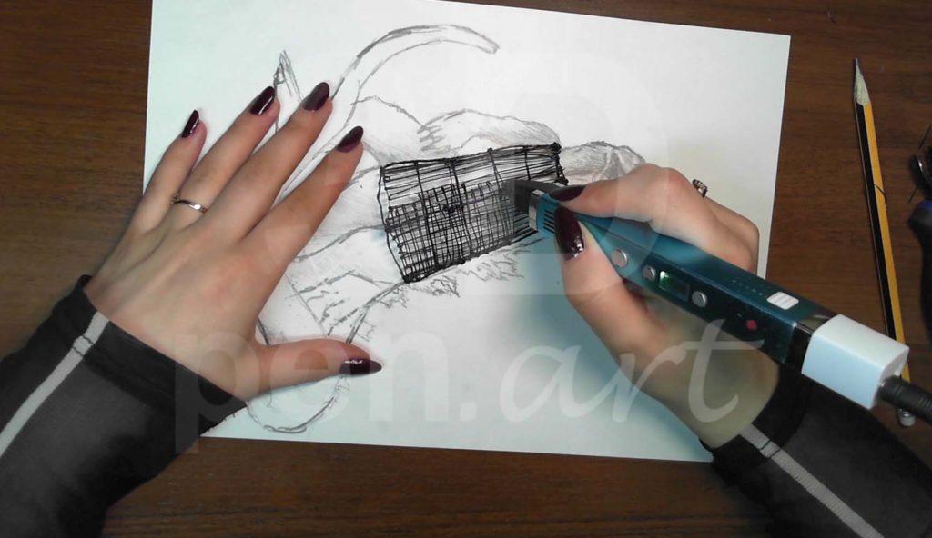 Годзилла 3D ручкой. Каркас тела