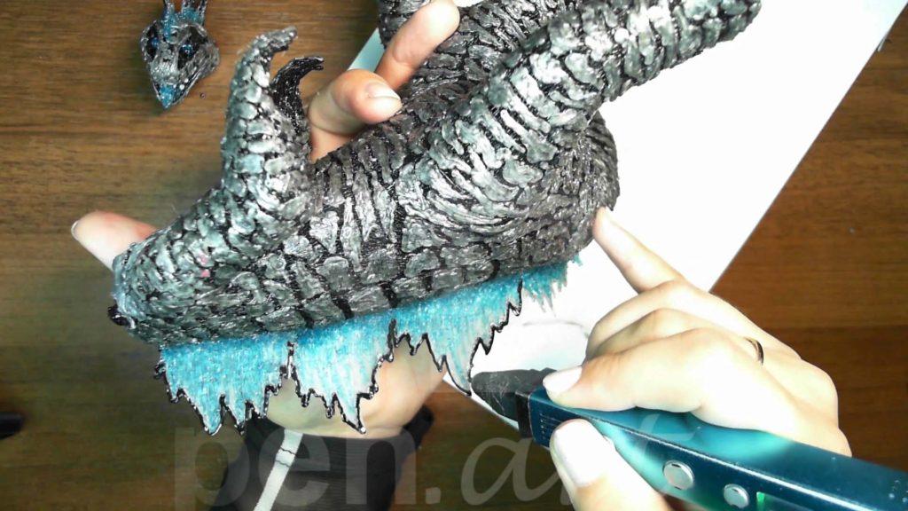 Годзилла 3D ручкой. Обрамление гребня