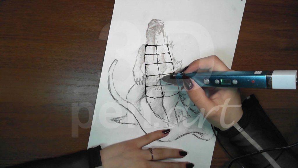 Годзилла 3D ручкой. Основа для каркаса тела.