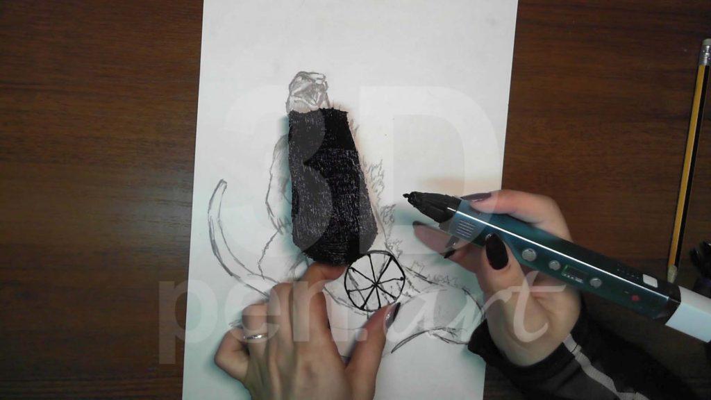 Годзилла 3D ручкой. Основа для каркаса хвоста