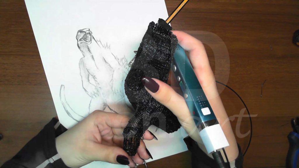Годзилла 3D ручкой. Присоединяем ноги