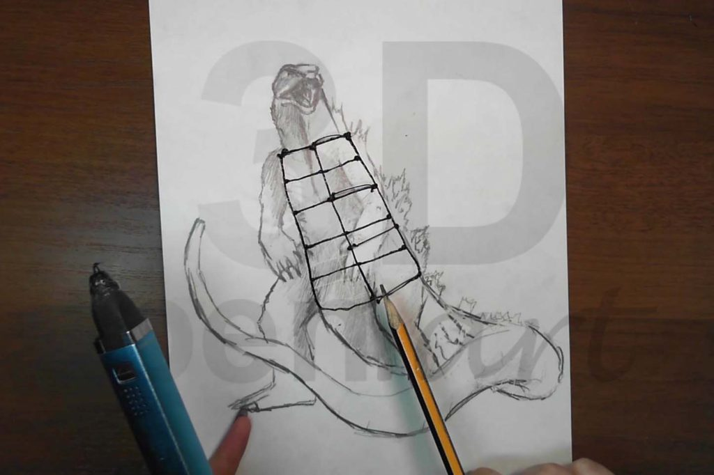 Годзилла 3D ручкой. Рисуем дуги