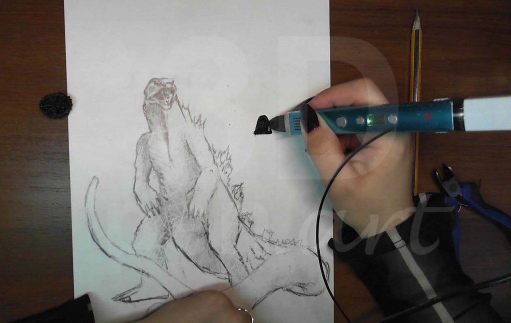 Годзилла 3D ручкой. Рисуем пасть