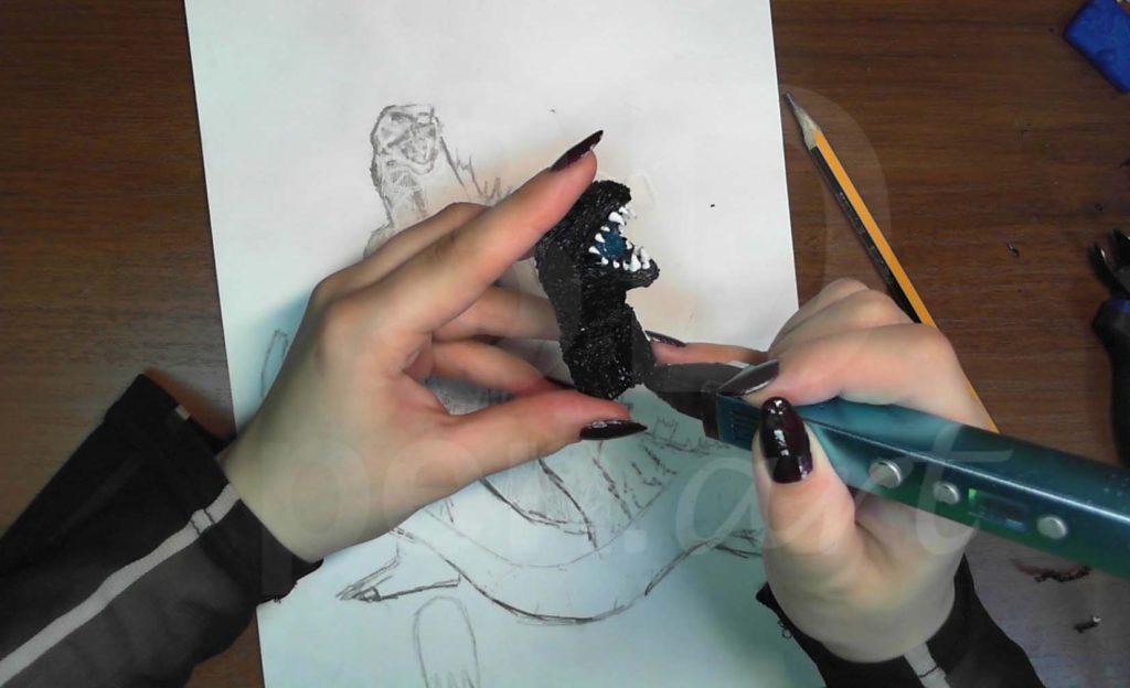 Годзилла 3D ручкой. Соединяем голову и шею