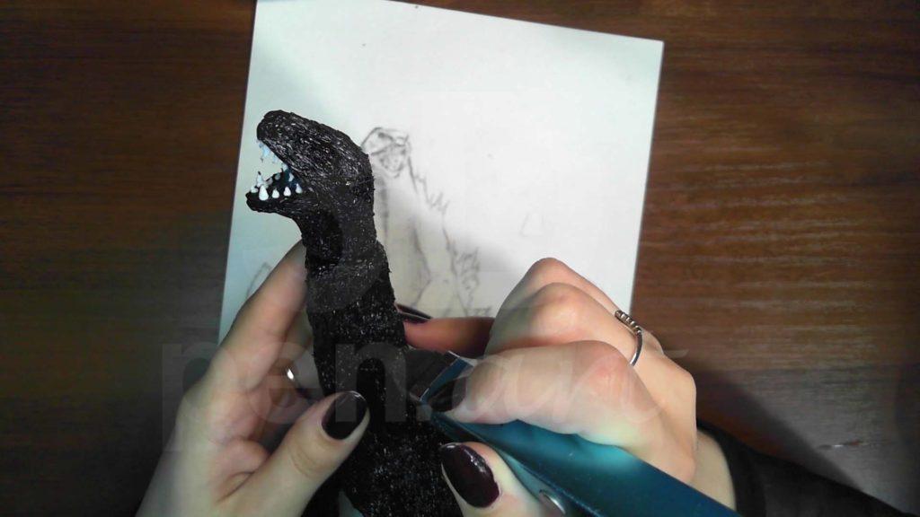 Годзилла 3D ручкой. Соединяем детали головы и тела