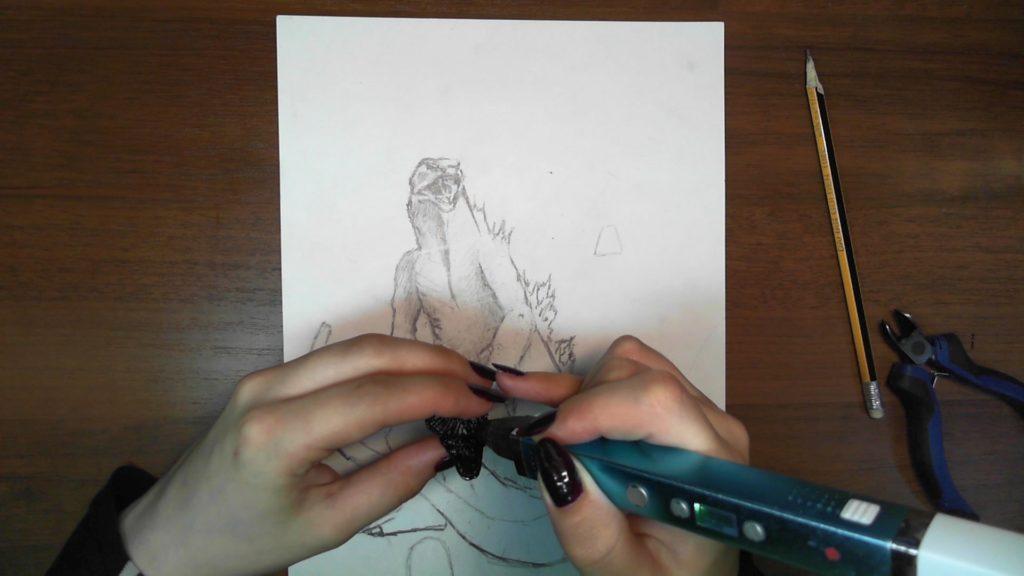 Годзилла 3D ручкой. Соединяем каркас и деталь пасти