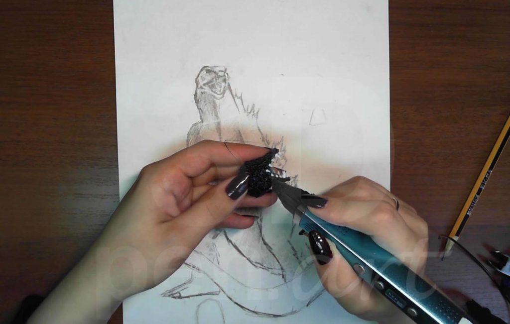 Годзилла 3D ручкой. Соединяем части головы
