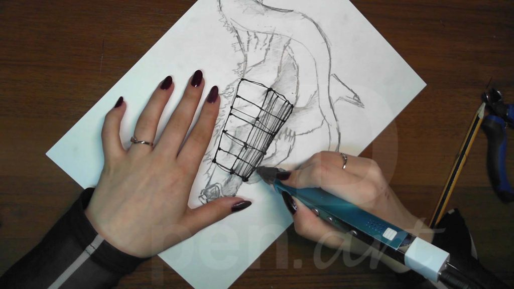 Годзилла 3D ручкой. Создание каркаса тела
