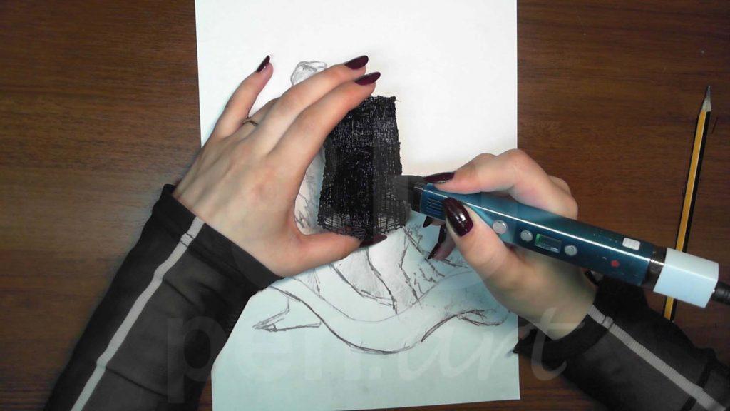 Годзилла 3D ручкой. Черновая штриховка