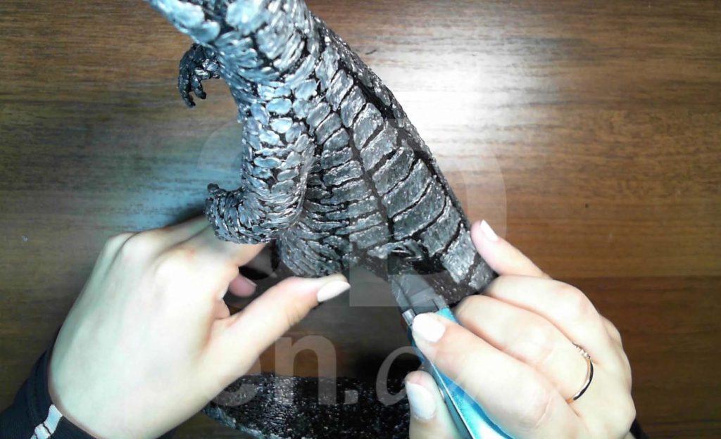 Годзилла 3D ручкой. Чешуя на спине