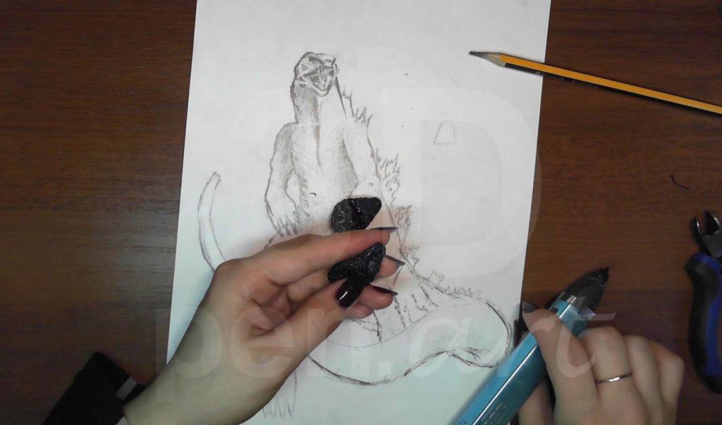Годзилла 3D ручкой. Штриховка внутренней полости рта