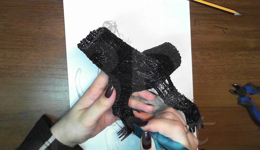 Годзилла 3D ручкой. Штриховка ног