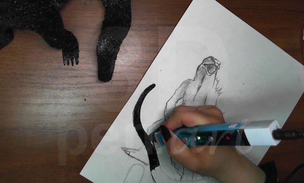 Годзилла 3D ручкой. Штриховка хвоста