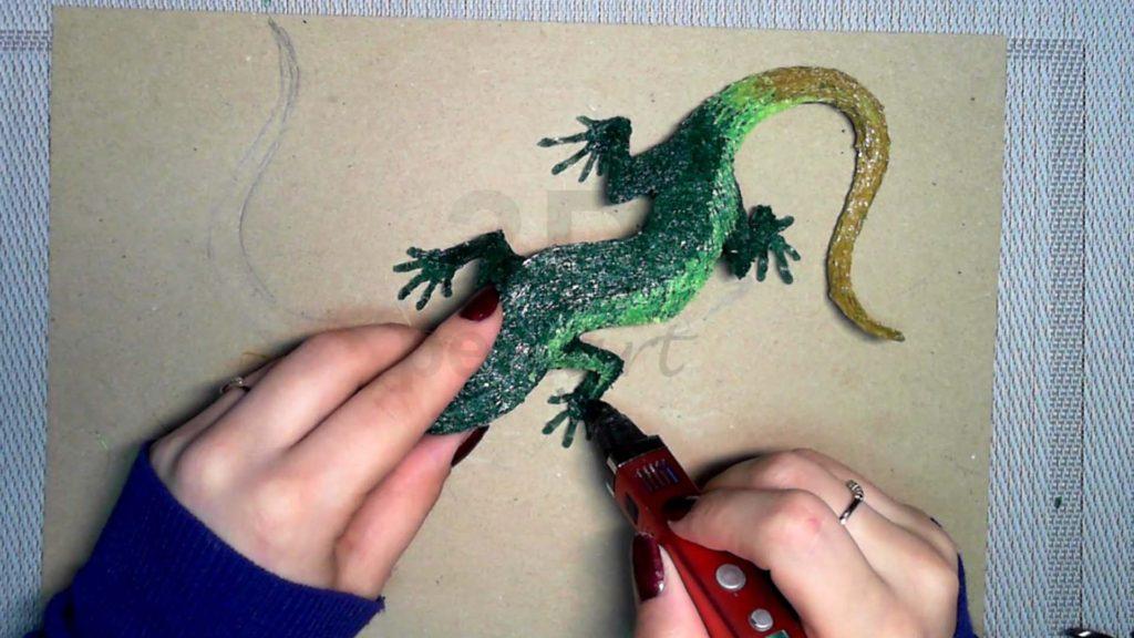 Ящерица 3D ручкой. Делаем расцветку