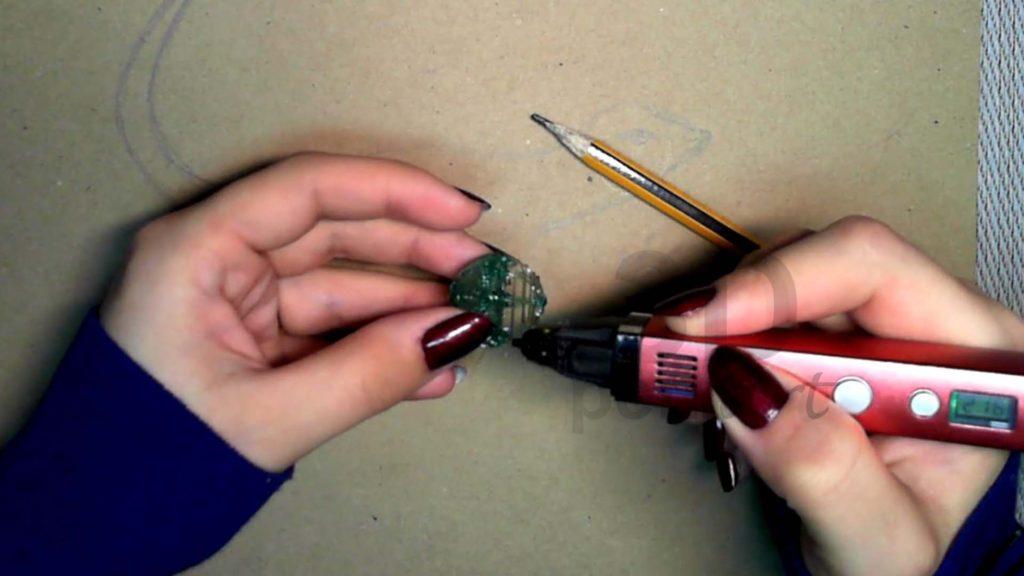 Ящерица 3D ручкой. Создание каркаса головы