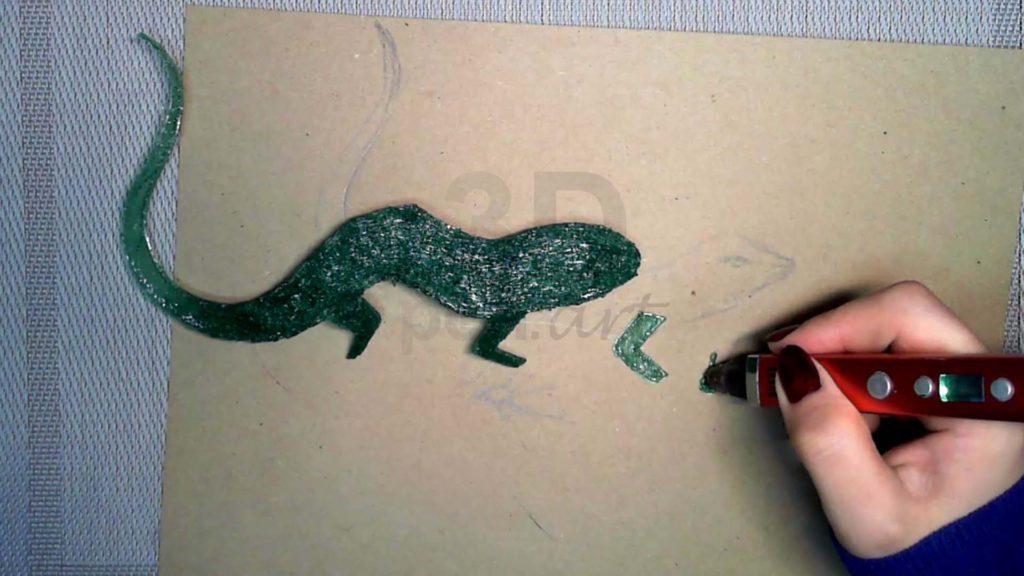 Ящерица 3D ручкой. Создание лап