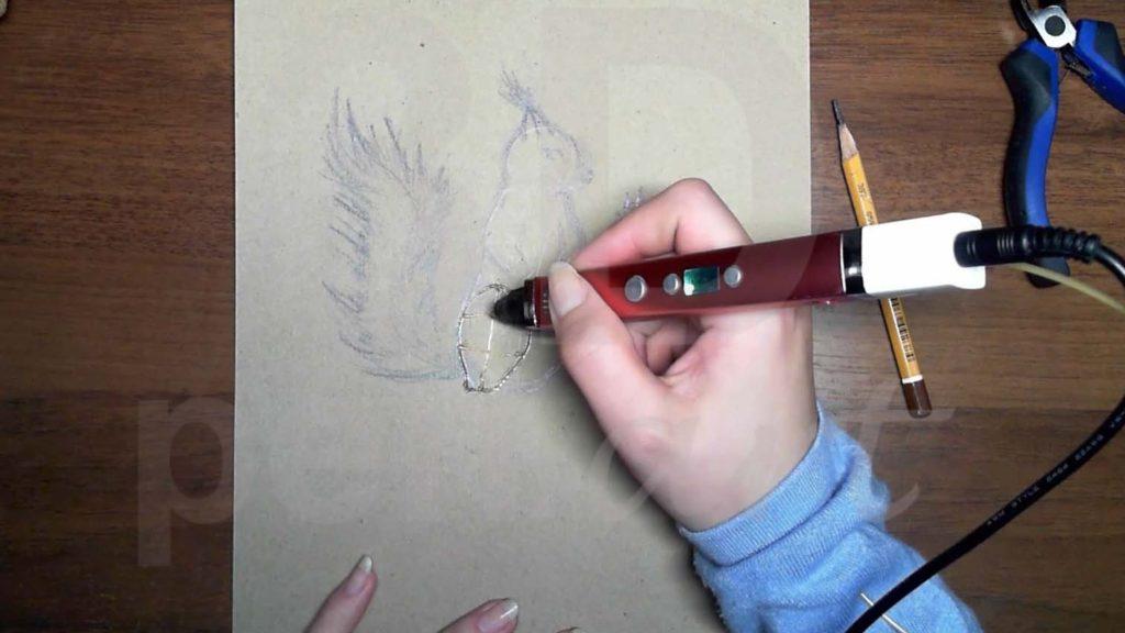 Белка 3D ручкой. Каркас лап