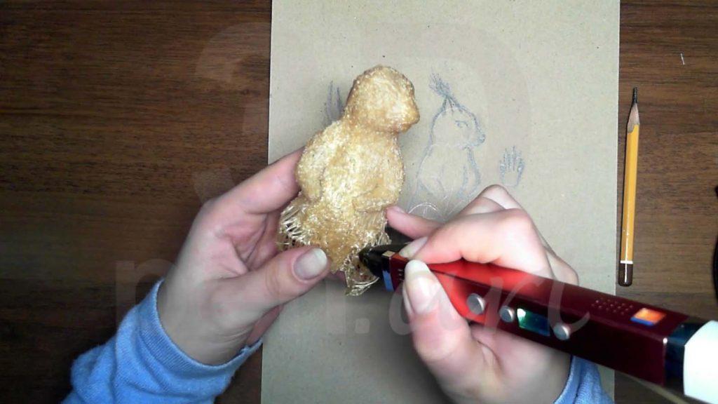 Белка 3D ручкой. Присоединяем верхние лапки