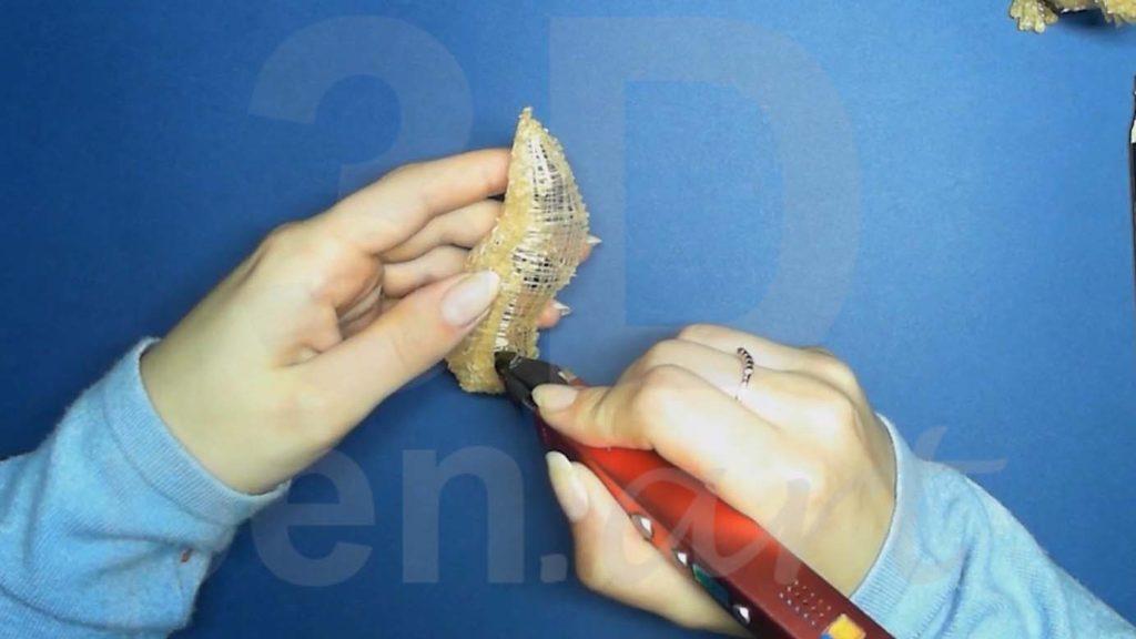 Белка 3D ручкой. Черновая штриховка хвоста