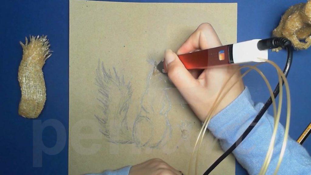Белка 3D ручкой. Штриховка ушей