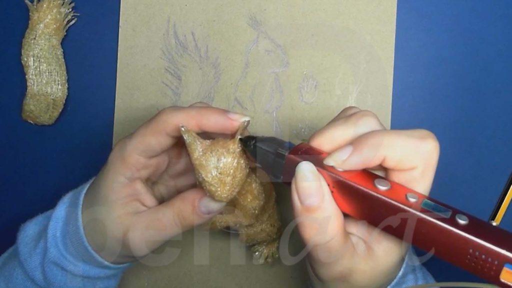 Белка 3D ручкой. Присоединяем уши