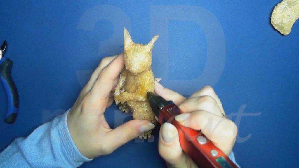 Белка 3D ручкой. Добавляем золотой
