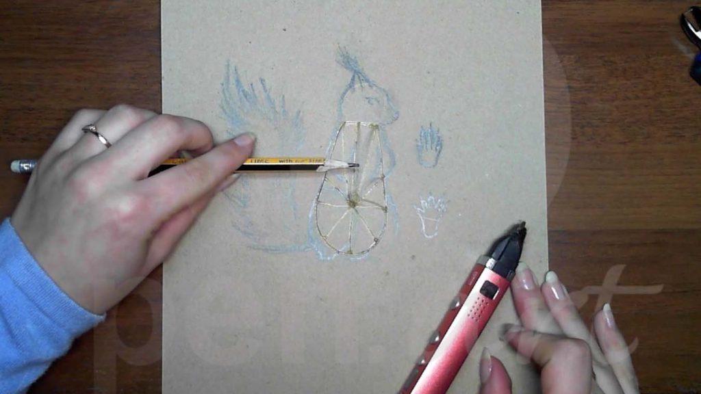 Белка 3D ручкой. Каркас тела