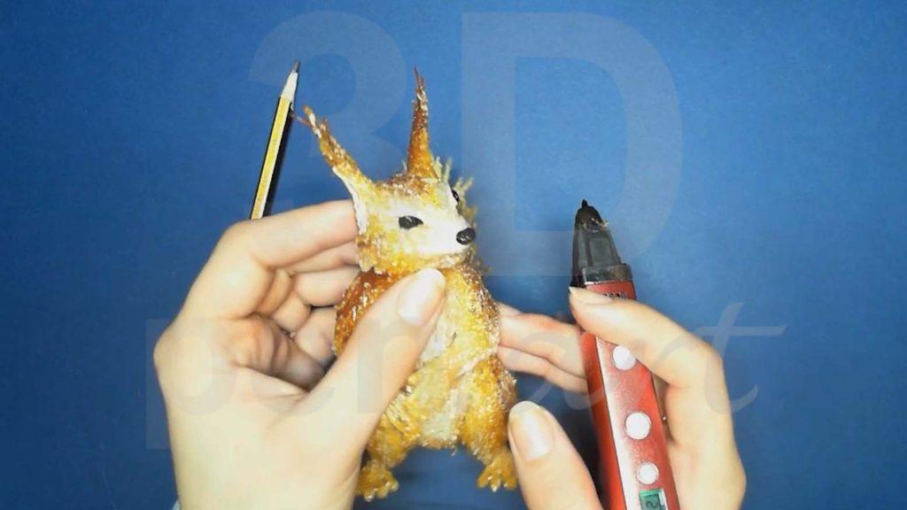 Белка 3D ручкой. Рисуем глаза и нос