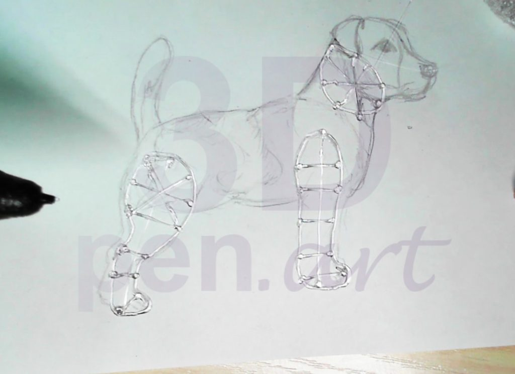 Собака 3D ручкой. Каркас ног
