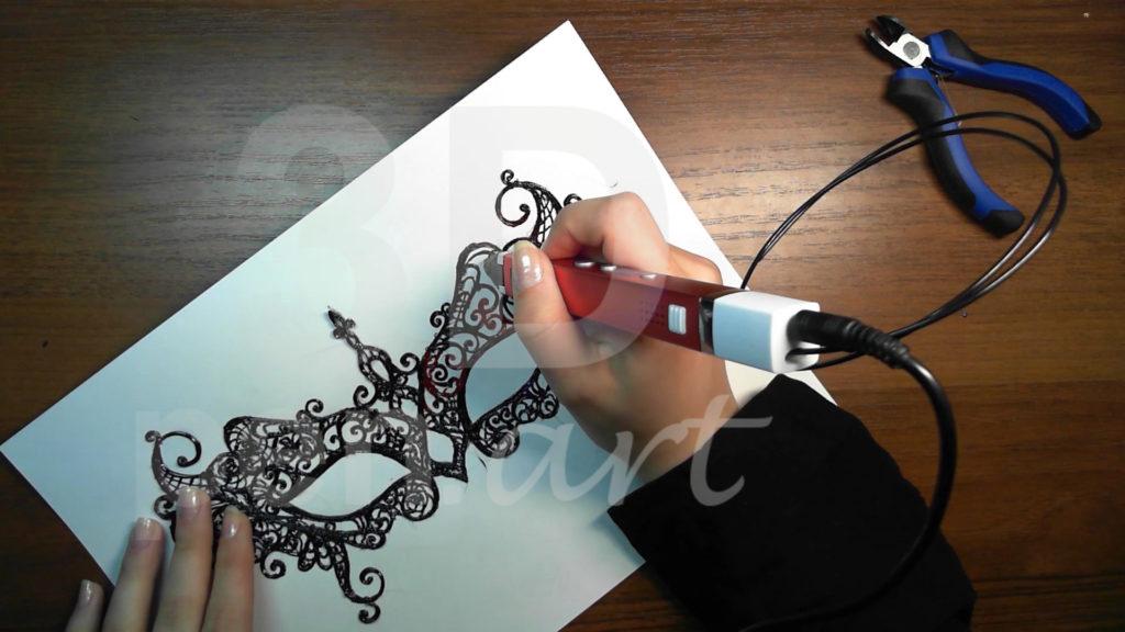 Маска 3D ручкой. Детализация