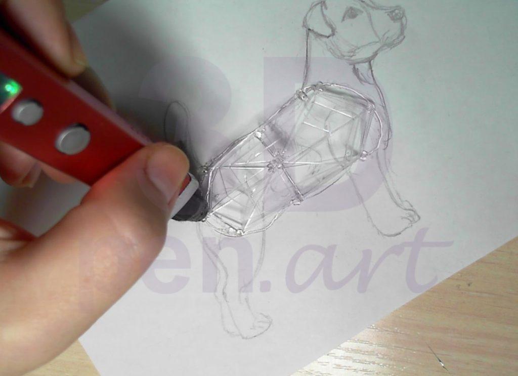 Собака 3D ручкой. Шаг 2. Каркас. Рисуем паутинку