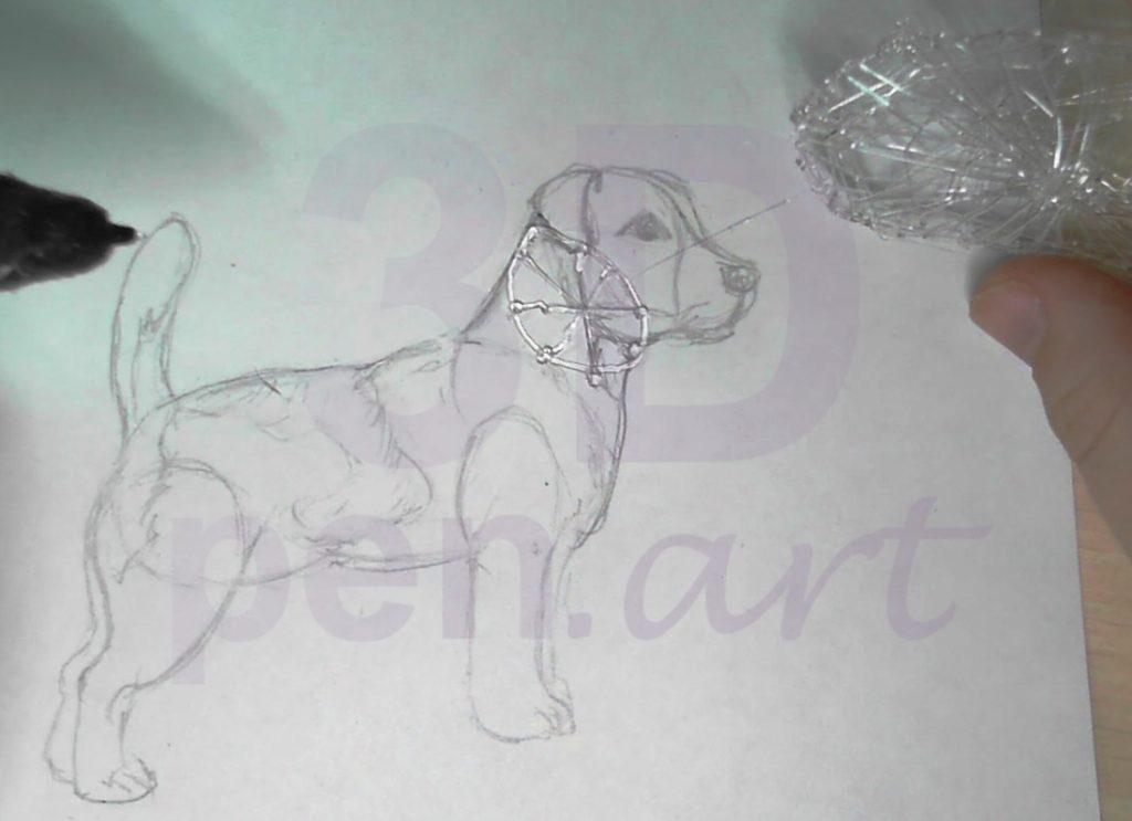 Собака 3D ручкой. Каркас шеи