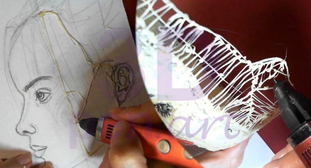 Билли Айлиш 3D ручкой. Достраиваем лицо
