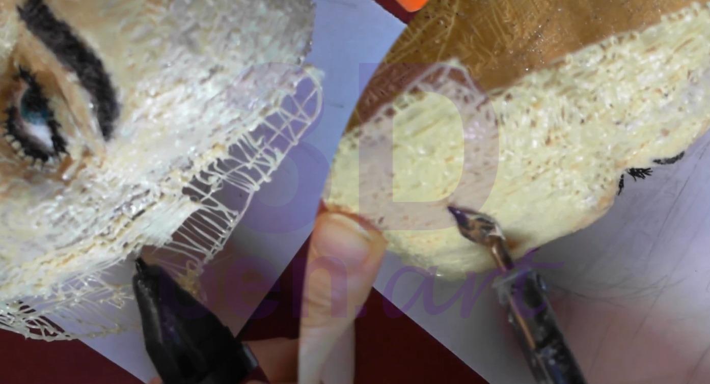 Билли Айлиш 3D ручкой. Заштриховываем лицо