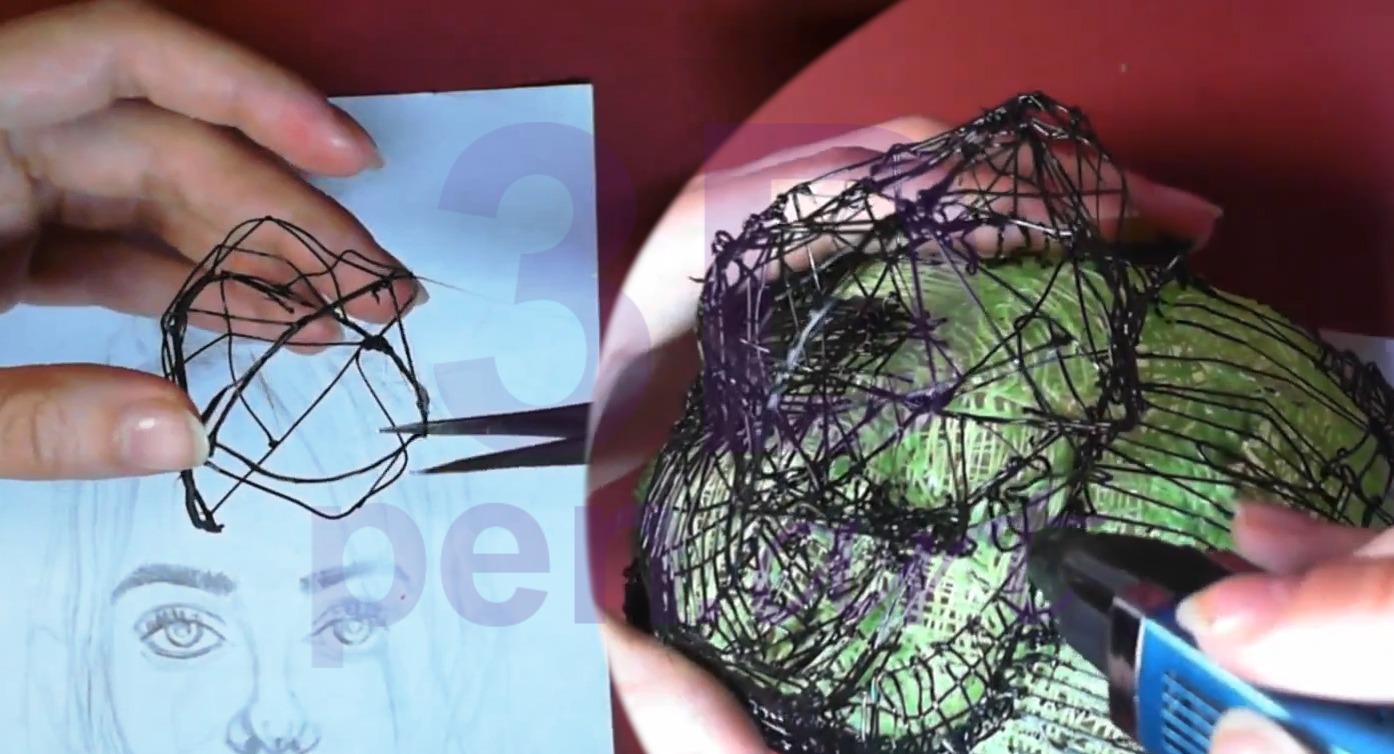 Билли Айлиш 3D ручкой. Присоединяем пучок к голове