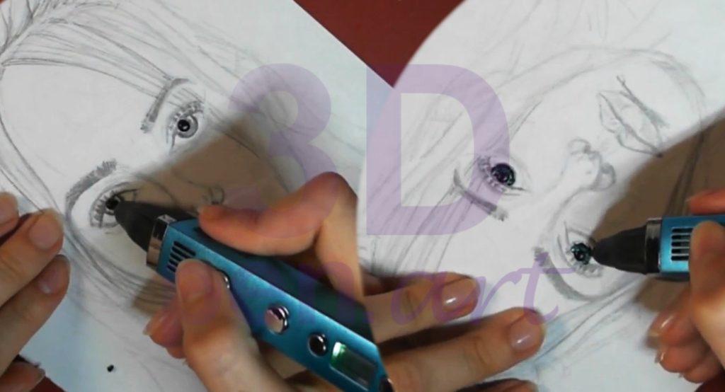 Билли Айлиш 3D ручкой. Рисуем зрачки и роговицу