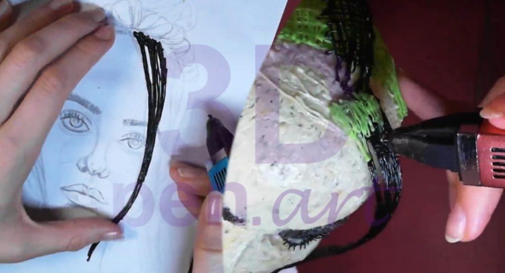 Билли Айлиш 3D ручкой. Строим плоские локоны