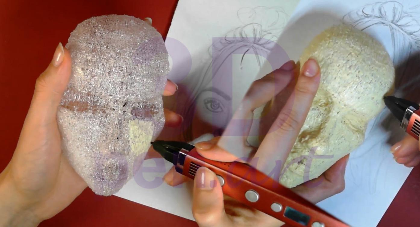 Билли Айлиш 3D ручкой. Чистовая штриховка лица